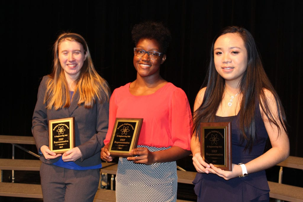 01-27-17 RRSEF ISEF attendees going to Los Angeles, CA May 14-19, 2017, to Madeline Burkey, Nkima Stephenson, Michelle Nguyen