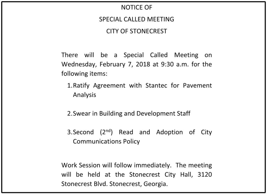 NOTICE OF SPECIAL CALLED MEETING 020718
