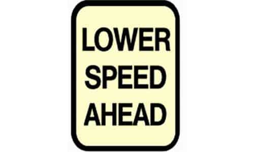 Lower speed limit signs